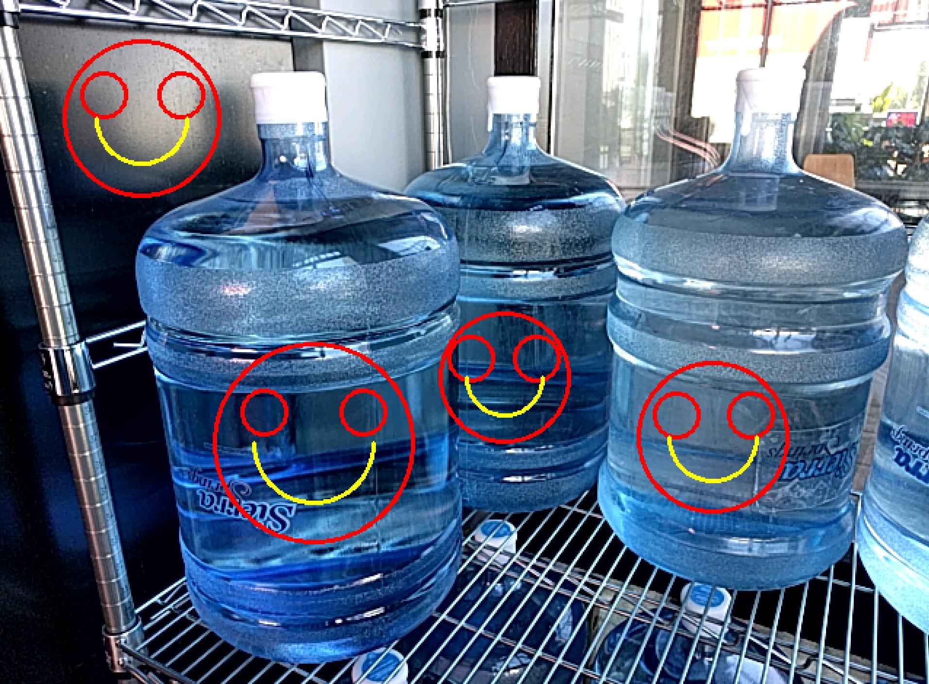 contour detect water bottles